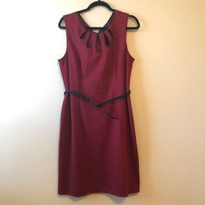 Apt 9 Maroon Cutout Belted Dress—XL